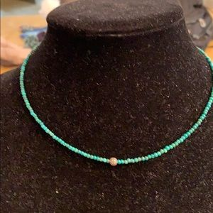 Jewelry - Diamond bar with turquoise beads